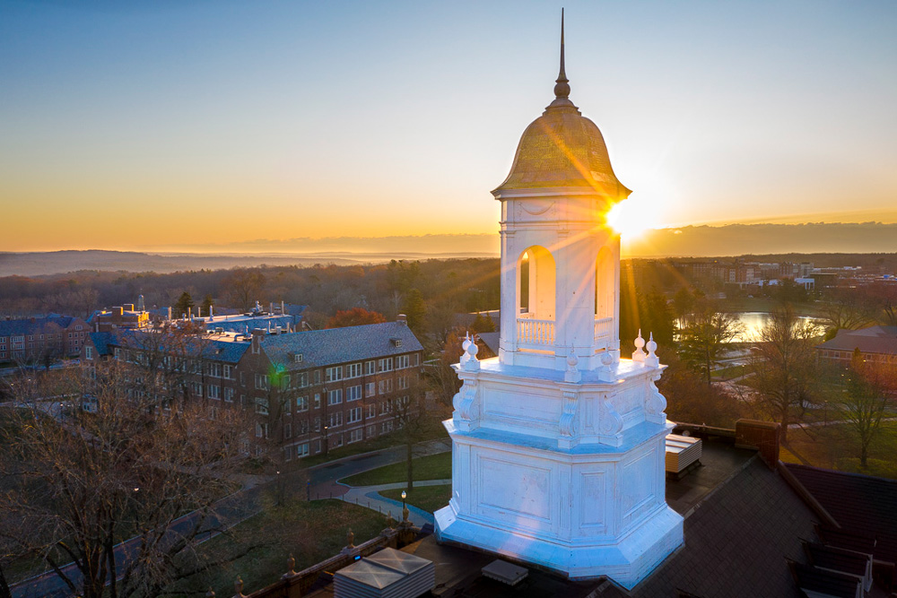 An image from a drone of Wilbur Cross and the sunset on