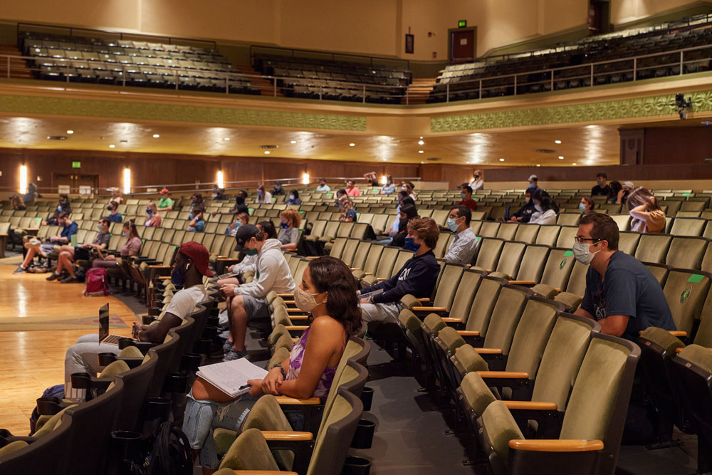 David Yalof, professor and department head of political science, lectures on Sept. 9, 2020 during Introduction to American Politics, the largest in-person class this semester. The class is being held at the Jorgensen Center for the Performing Arts to provide physical distance during the COVID-19 pandemic.
